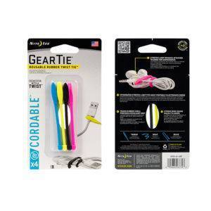 Gear Tie Cordable Rubber Twist Tie 3 - 4PK Assorted Cols   ManMeister