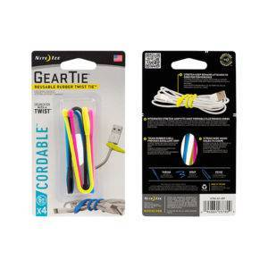 Gear Tie Cordable Rubber Twisted Tie 6 4PK Assorted Cols   ManMeister